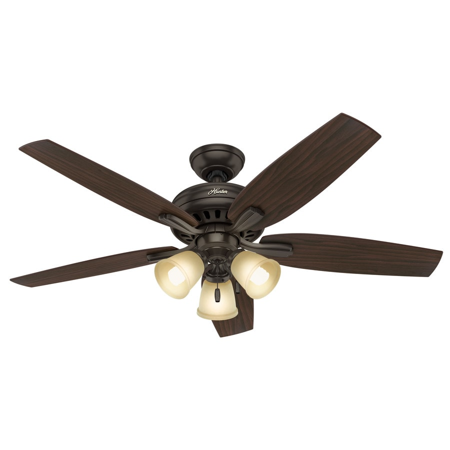 Hunter Newsome 52-in Premier Bronze Indoor Downrod Or Close Mount Ceiling Fan with Light Kit