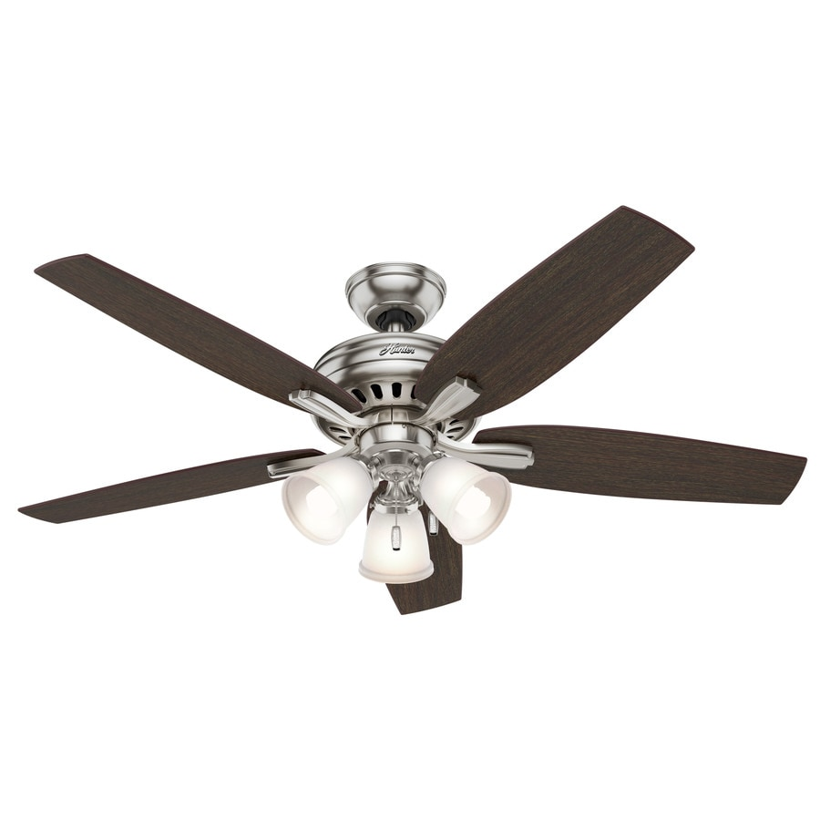 Hunter Newsome 52-in Brushed Nickel Downrod or Close Mount Indoor Ceiling Fan with Light Kit