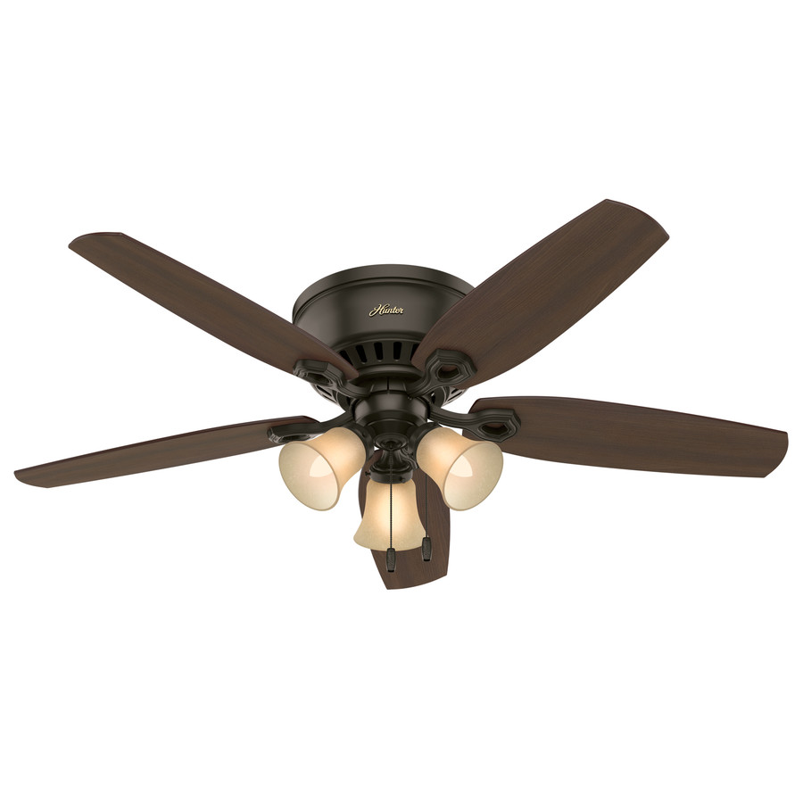 Shop hunter builder low pro 52 in new bronze indoor flush mount hunter builder low pro 52 in new bronze indoor flush mount ceiling fan with light aloadofball Images
