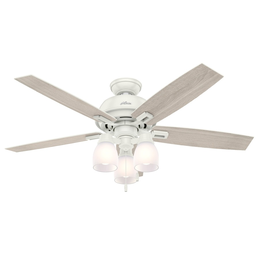 Hunter 52-in Fresh White Indoor Downrod Or Close Mount Ceiling Fan with Light Kit