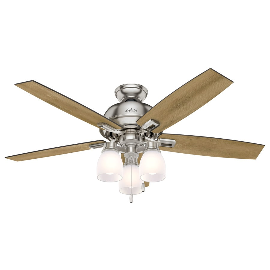 Shop Hunter Donegan 52-in Brushed Nickel Indoor Downrod Or Close Mount Ceiling Fan with Light ...