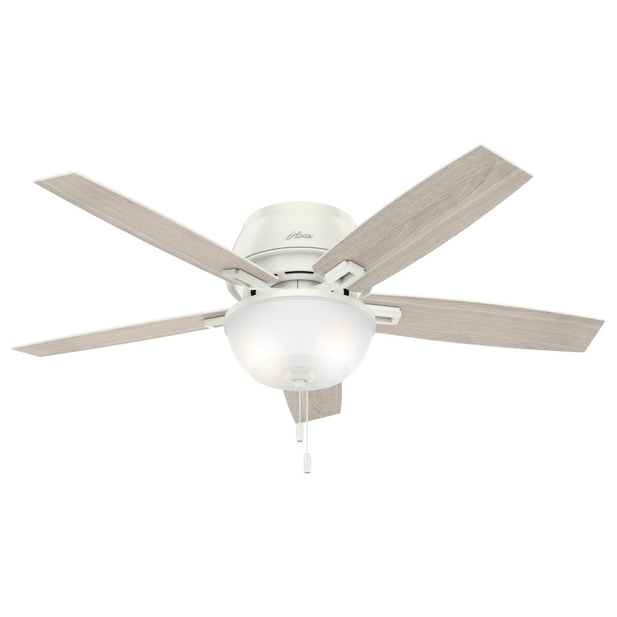 Hunter White Fan Part - 44: Hunter Donegan 52-in Fresh White Indoor Flush Mount Ceiling Fan With Light  Kit