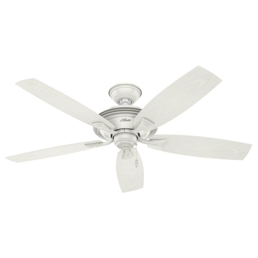 Hunter Rainsford 52-in Fresh White Downrod or Close Mount Indoor/Outdoor Ceiling Fan ENERGY STAR