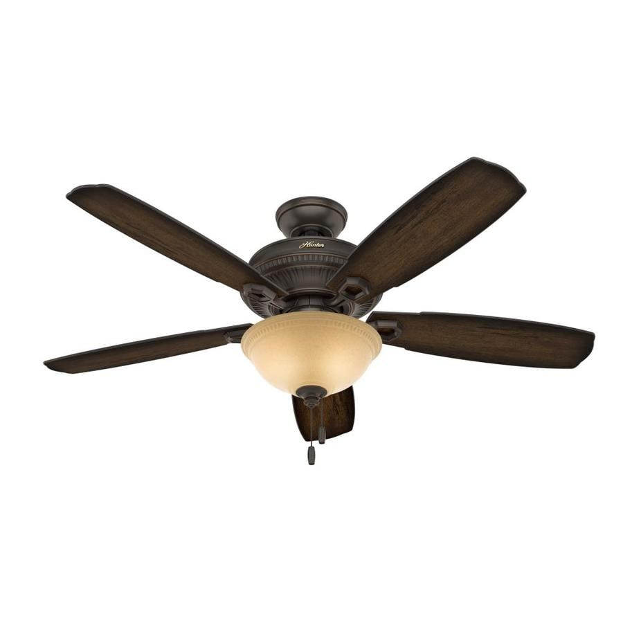 Hunter Ambrose 52-in Onyx Bengal Bronze Downrod or Close Mount Indoor Ceiling Fan with Light Kit