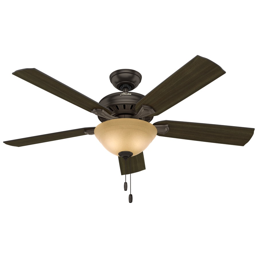 Hunter Fletcher 52-in Premier Bronze Indoor Downrod Or Close Mount Ceiling Fan with Light Kit