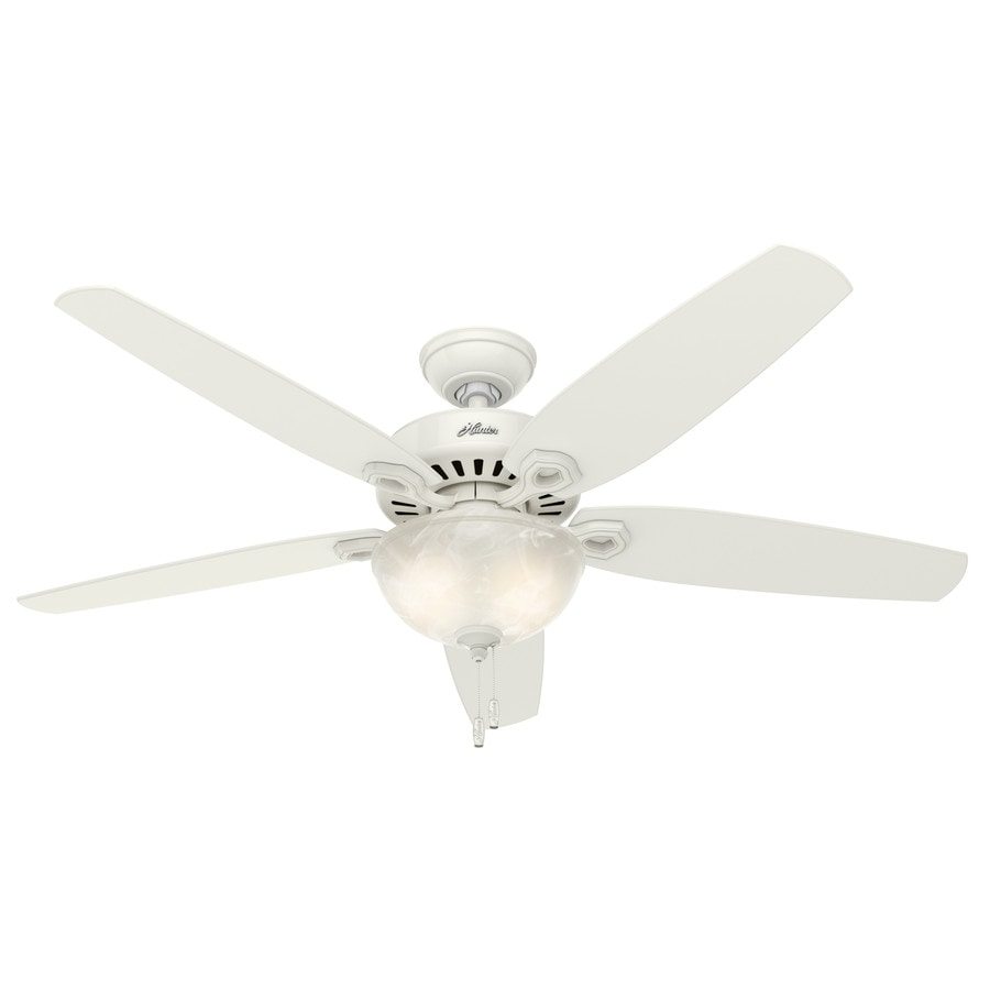 Hunter Builder Bowl 56-in Snow White Indoor Downrod Or Close Mount Ceiling Fan with Light Kit