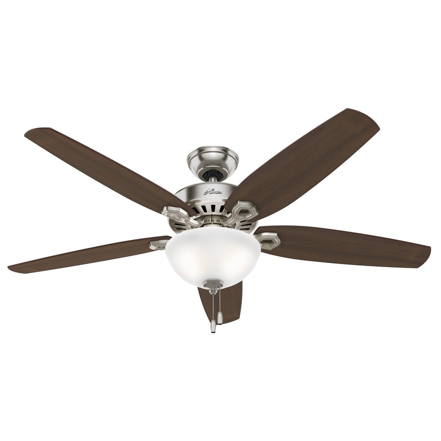 Hunter Builder Bowl 56-in Brushed Nickel Downrod or Close Mount Indoor Ceiling Fan with Light Kit