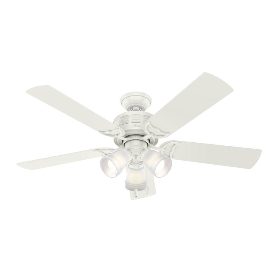 Hunter 1-Pack Prim 52-in Fresh White Downrod or close mount Indoor Ceiling Fan with Light Kit
