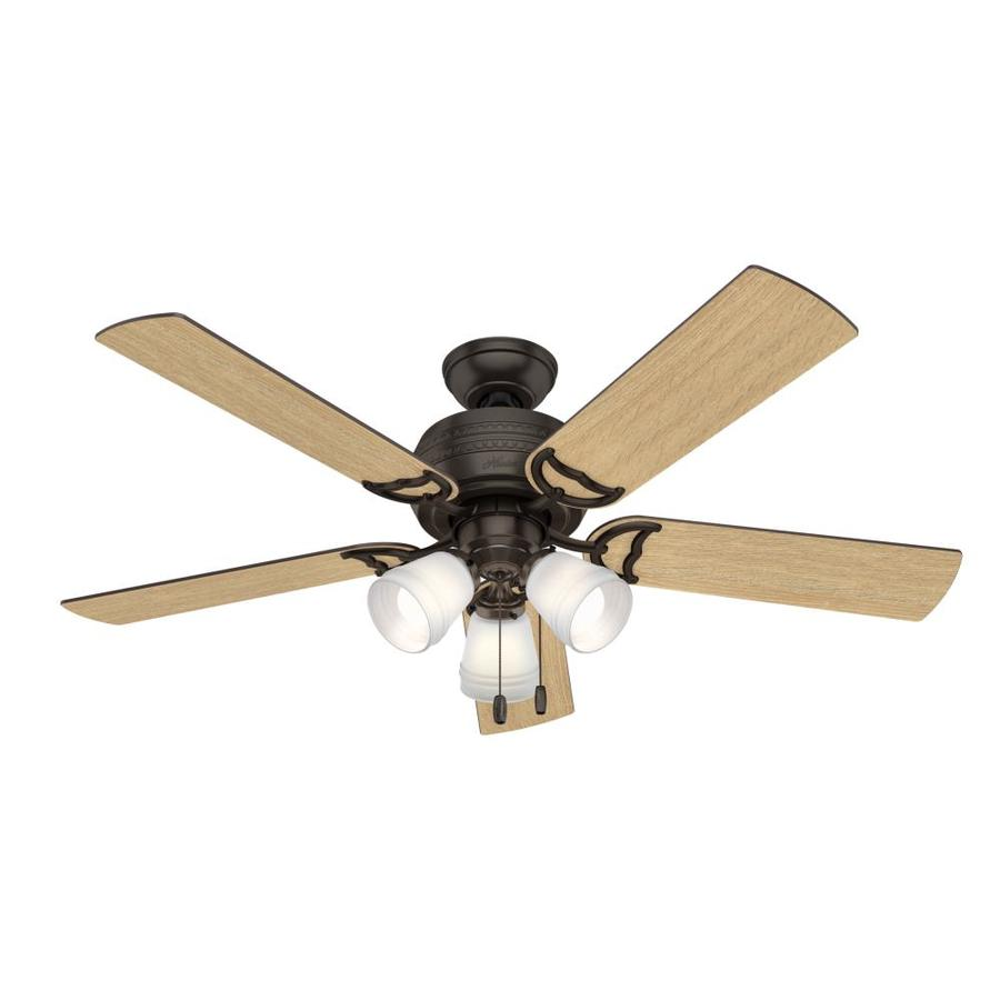 Hunter 1-Pack Prim 52-in Premier Bronze Downrod or close mount Indoor Ceiling Fan with Light Kit