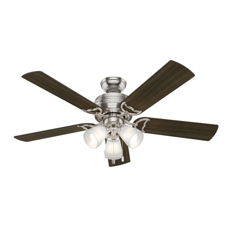 Hunter 1-Pack Prim 52-in Brushed Nickel Downrod or close mount Indoor Ceiling Fan with Light Kit