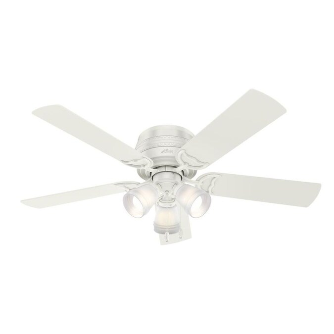 Hunter Prim Fresh White 52 In Led Indoor Flush Mount Ceiling Fan 5 Blade In The Ceiling Fans Department At Lowes Com