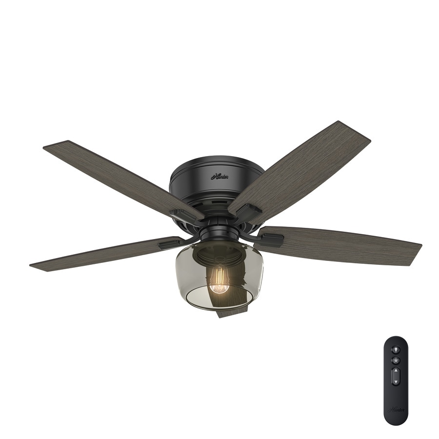 shop hunter bennett edison led 52 in matte black indoor flush mount ceiling fan with light kit. Black Bedroom Furniture Sets. Home Design Ideas