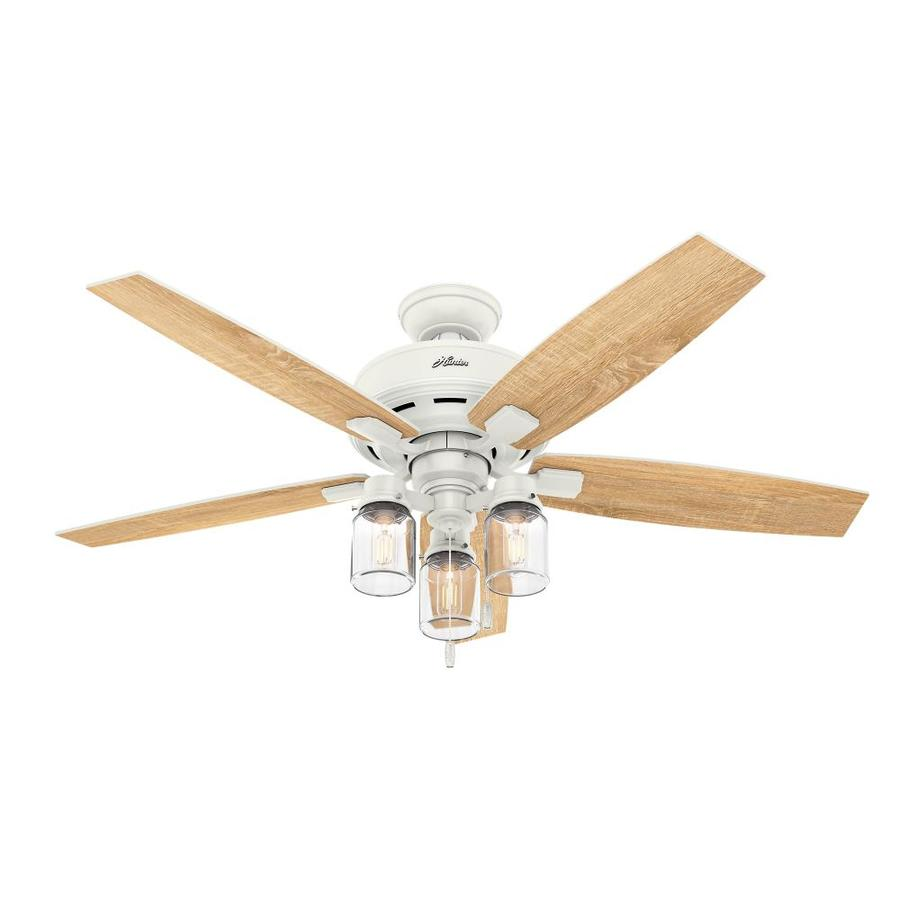 Menards Ceiling Fans Hunter Ceiling Fans Light Kits Fresh: Hunter Lincoln Edison Style LED 52-in Fresh White LED