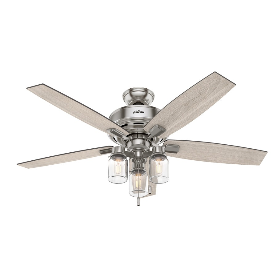 Hunter Lincoln Brushed Nickel 52 In Led Indoor Ceiling Fan With Light Kit 5 Blade In The Ceiling Fans Department At Lowes Com