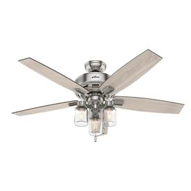 Hunter ceiling fans without lights Bronze Hunter Lincoln Edison Style Led 52in Brushed Nickel Led Indoor Ceiling Fan With Light Lowes Ceiling Fans At Lowescom