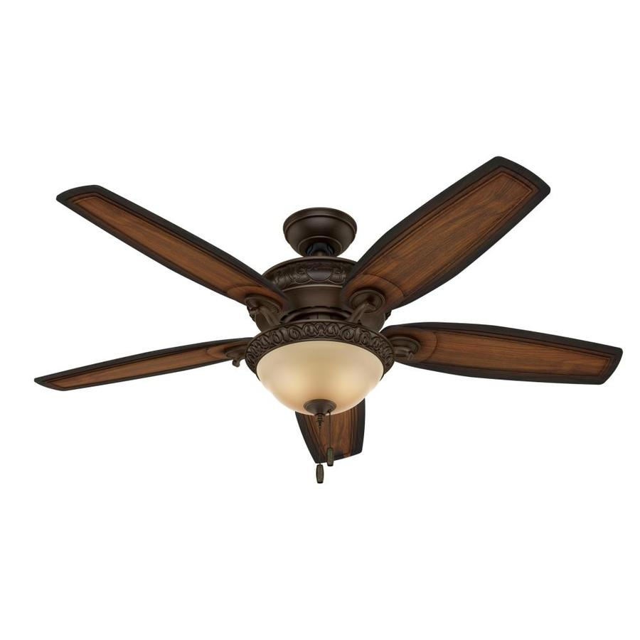 shop hunter claymore 54 in brushed cocoa downrod or close mount indoor ceiling fan with light. Black Bedroom Furniture Sets. Home Design Ideas