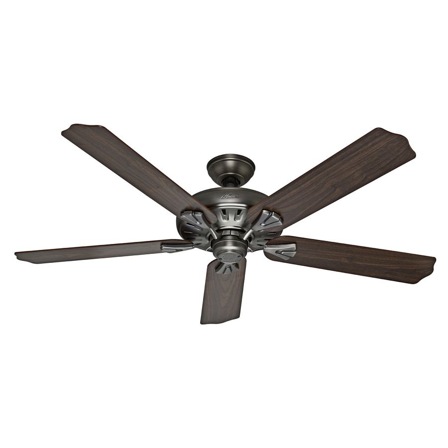 Hunter The Royal Oak 60-in Antique Pewter Downrod or Close Mount Indoor Ceiling Fan with Remote ENERGY STAR