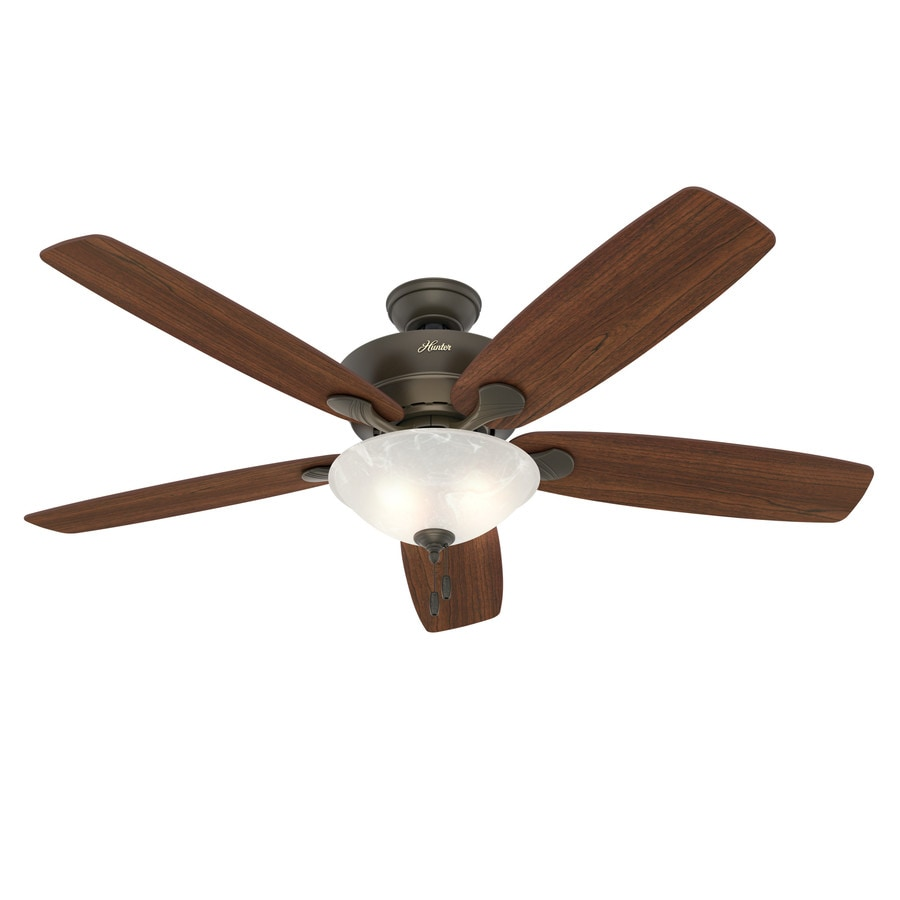 Hunter Regalia 60-in New Bronze Downrod or Close Mount Indoor Ceiling Fan with Light Kit