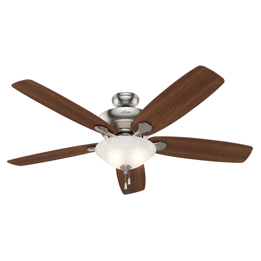 Hunter Regalia 60-in Brushed Nickel Downrod or Close Mount Indoor Ceiling Fan with Light Kit