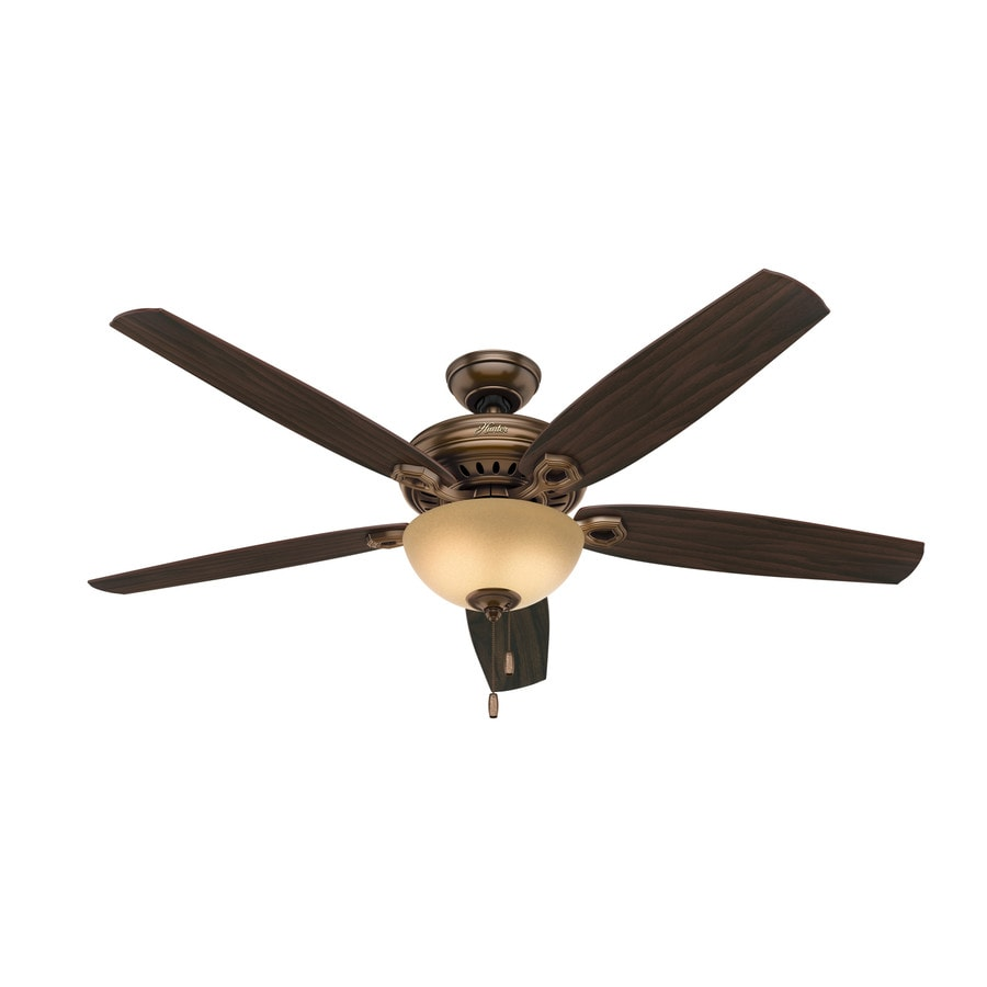 Hunter Valerian 60-in Bronze Patina Downrod or Close Mount Indoor Ceiling Fan with Light Kit