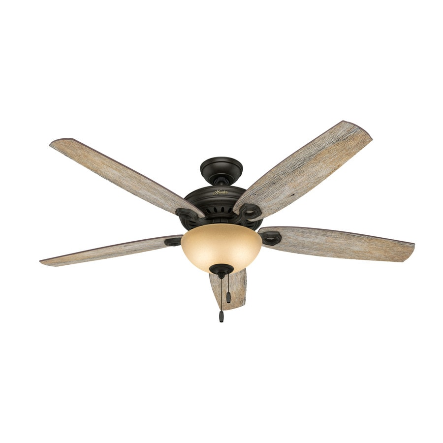 Hunter Valerian 60-in Brittany Bronze Downrod or Close Mount Indoor Ceiling Fan with Light Kit