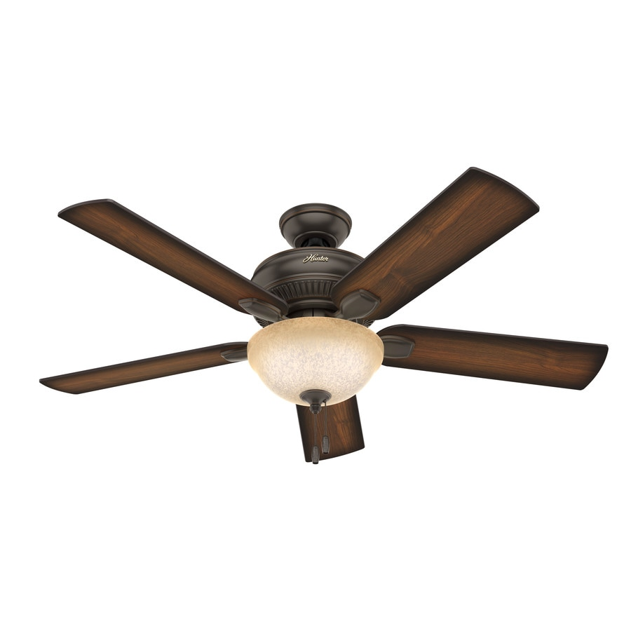 Hunter Matheston 52-in Onyx Bengal Bronze Indoor/Outdoor Downrod Or Close Mount Ceiling Fan with Light Kit