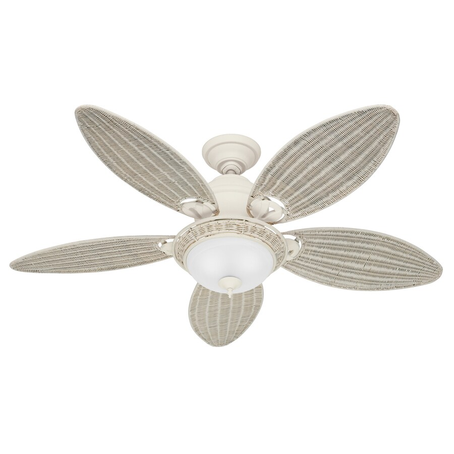 Hunter Caribbean Breeze 54-in Textured White Indoor Downrod Or Close Mount Ceiling Fan with Light Kit