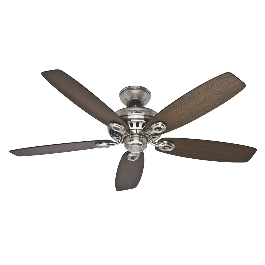 Hunter Markham 52-in Brushed Nickel Downrod or Close Mount Indoor Ceiling Fan ENERGY STAR