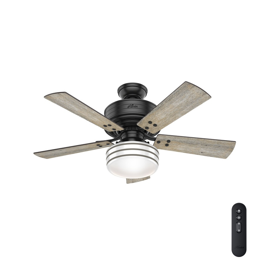 shop hunter cedar key 44 in matte black led indoor outdoor ceiling fan with light kit and remote. Black Bedroom Furniture Sets. Home Design Ideas