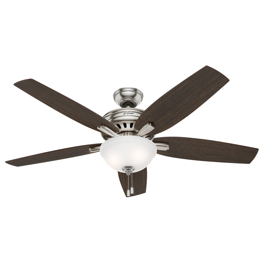 Hunter Newsome 56-in Brushed Nickel Indoor Downrod Or Close Mount Ceiling Fan with Light Kit