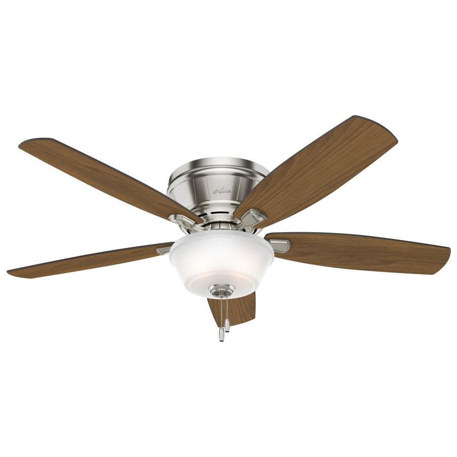Hunter Estate Winds 56-in Brushed Nickel Indoor Flush Mount Ceiling Fan with Light Kit