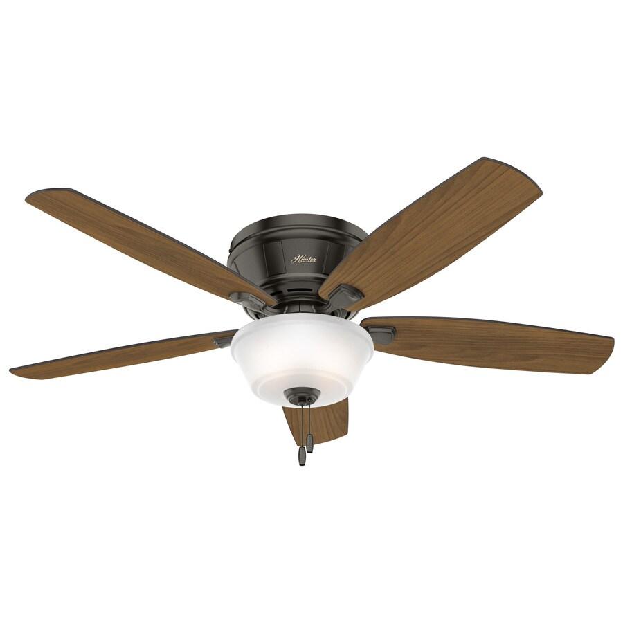 Hunter Estate Winds 56-in Noble Bronze Flush Mount Indoor Ceiling Fan with Light Kit