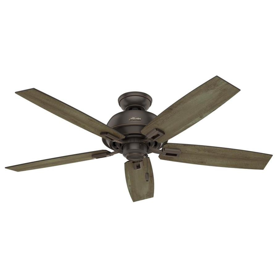 Hunter Donegan 52-in Onyx Bengal Bronze Indoor/Outdoor Downrod Or Close Mount Ceiling Fan