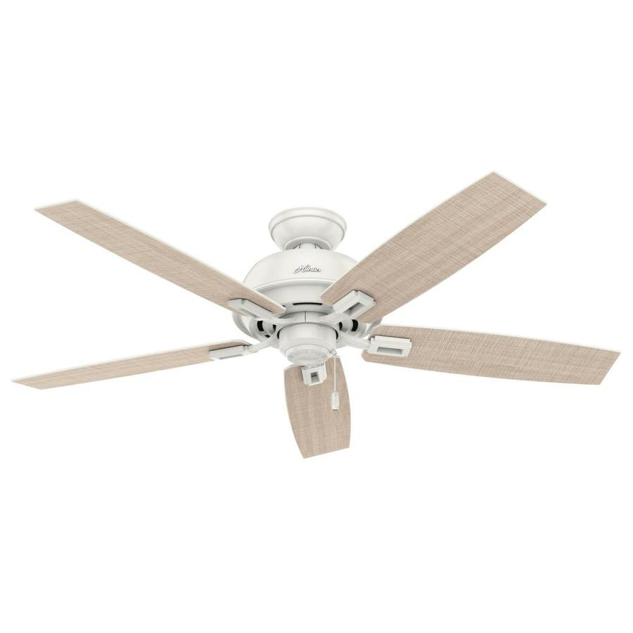 Hunter Donegan 52-in Fresh White Indoor/Outdoor Downrod Or Close Mount Ceiling Fan