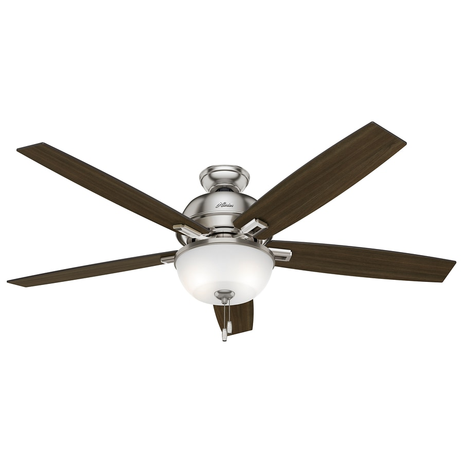 Shop hunter donegan 60 in brushed nickel indoor ceiling fan with hunter donegan 60 in brushed nickel indoor ceiling fan with light kit aloadofball Image collections