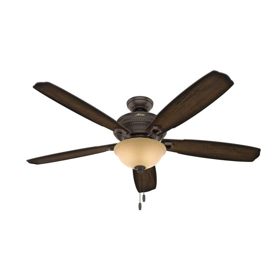 Hunter Ambrose 60-in Onyx Bengal Bronze Indoor Downrod Or Close Mount Ceiling Fan with Light Kit