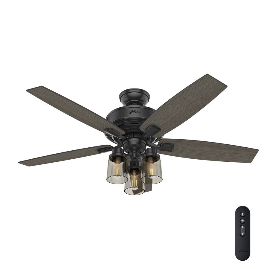 Hunter Bennett Edison LED 52-in Matte Black Indoor Downrod or Close Mount Ceiling Fan with Light Kit and Remote