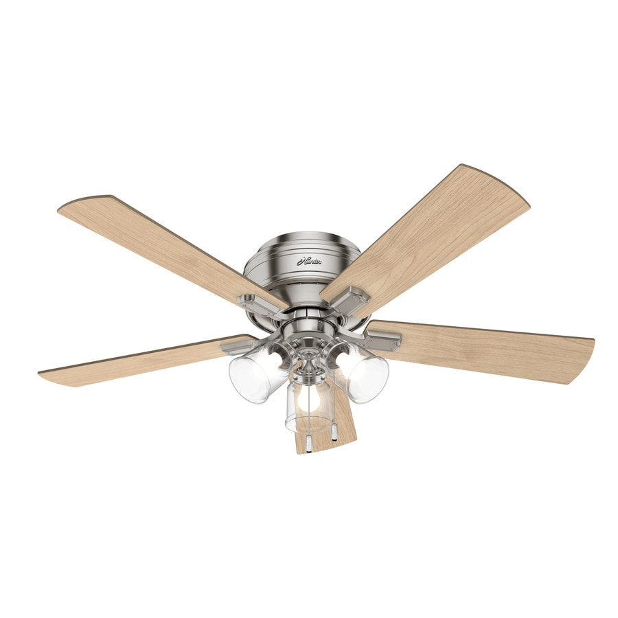 Hunter Crestfield 52 In Brushed Nickel Led Indoor Flush Mount Ceiling Fan With Light Kit 5