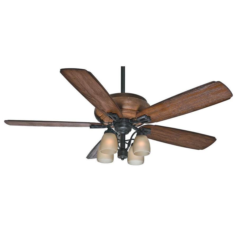 Casablanca Heathridge 60-in Aged Steel Downrod or Close Mount Indoor/Outdoor Ceiling Fan with Light Kit and Remote
