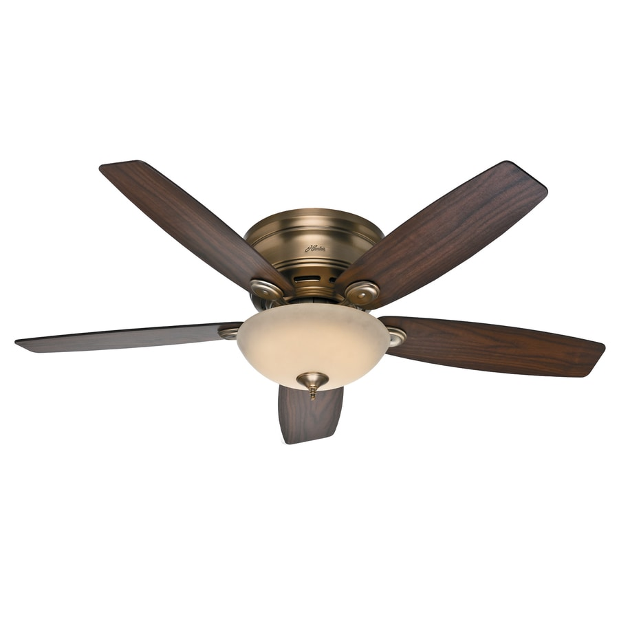 Hunter Low Profile Iv Plus Led 52-in Brushed Bronze Flush Mount Indoor Ceiling Fan with LED Light Kit