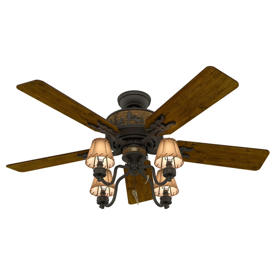 Hunter Adirondack 52-in Brittany Bronze Indoor Downrod Or Close Mount Ceiling Fan with Light Kit