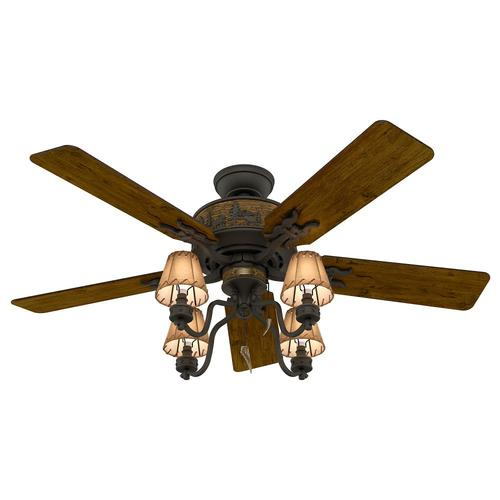 Hunter Adirondack 52 In Antique Bronze Indoor Ceiling Fan With Light Kit 5 Blade At Lowes Com
