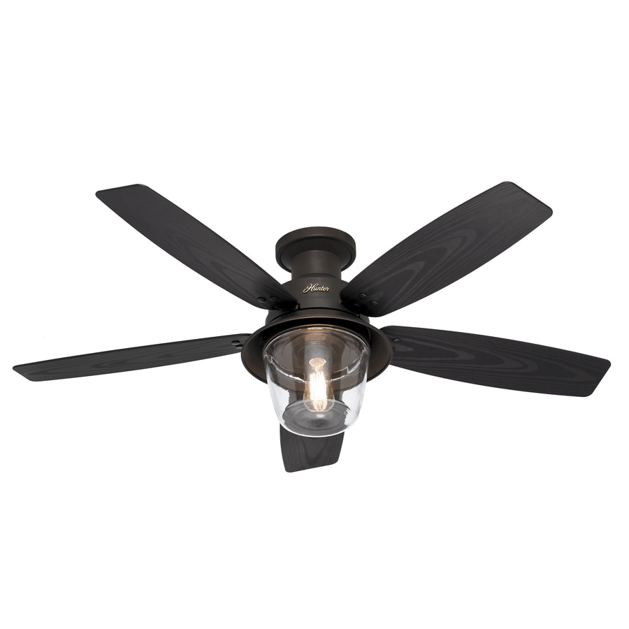 Hunter Allegheny 52-in New Bronze Flush Mount Indoor/Outdoor Ceiling Fan with Light Kit