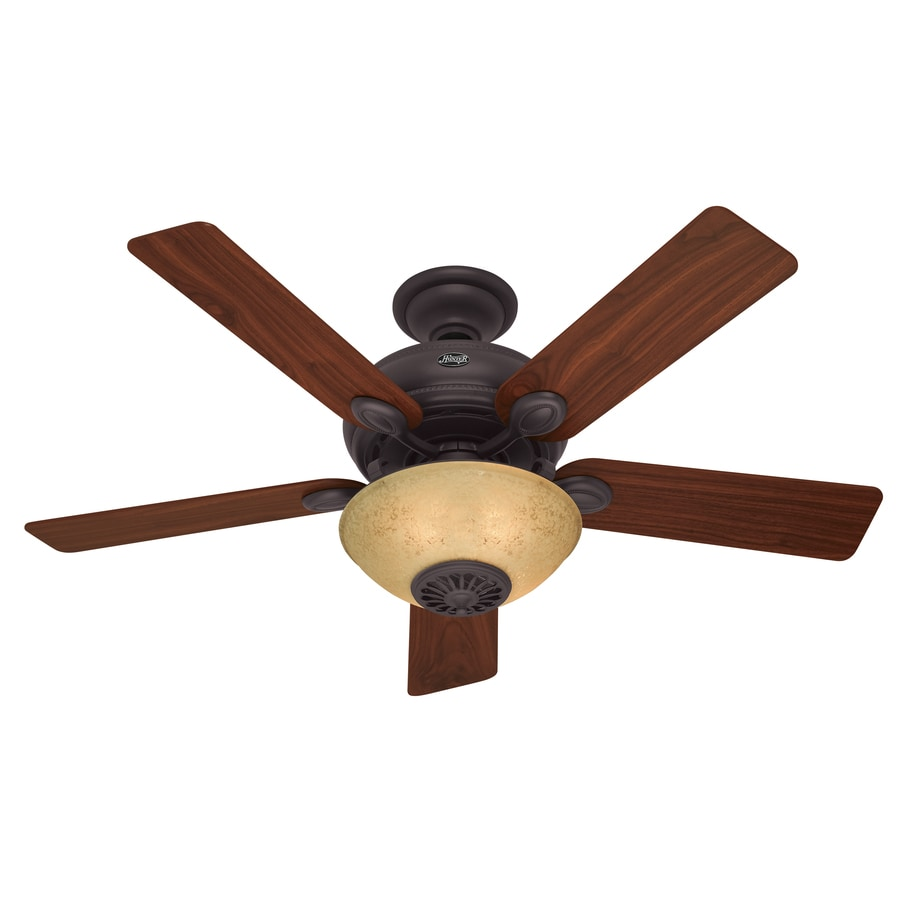 Shop Hunter Westover Four Seasons Heater 52-in New Bronze Downrod Mount Indoor Ceiling Fan with ...