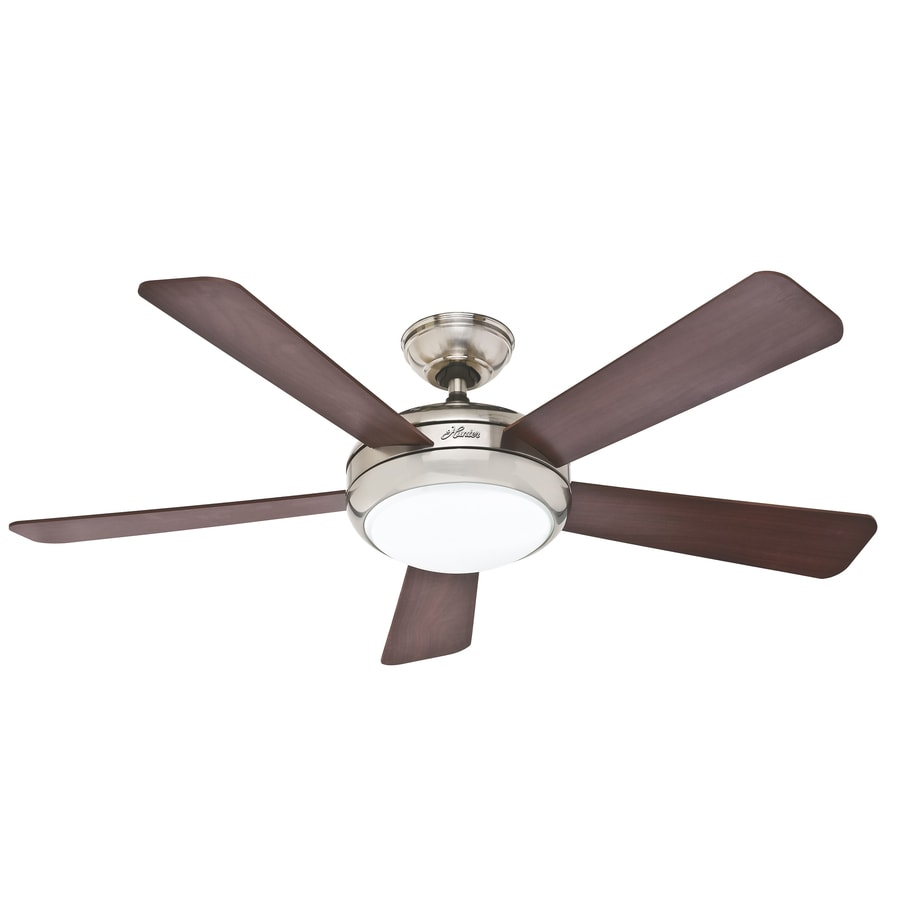 Hunter Palermo LED 52-in Brushed Nickel Downrod or Flush Mount Indoor Ceiling Fan with Integrated Light Kit and Remote ENERGY STAR