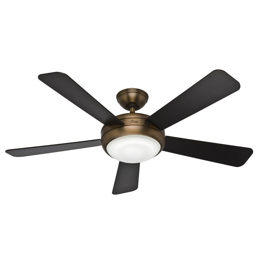 Hunter Palermo 52-in Brushed Bronze Downrod or Flush Mount Ceiling Fan with Light Kit and Remote ENERGY STAR