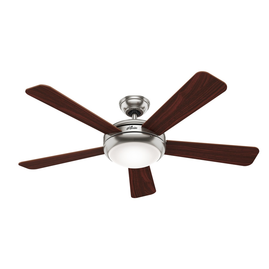Hunter 52-in Brushed Nickel Indoor Downrod Or Close Mount Ceiling Fan with Light Kit and Remote ENERGY STAR