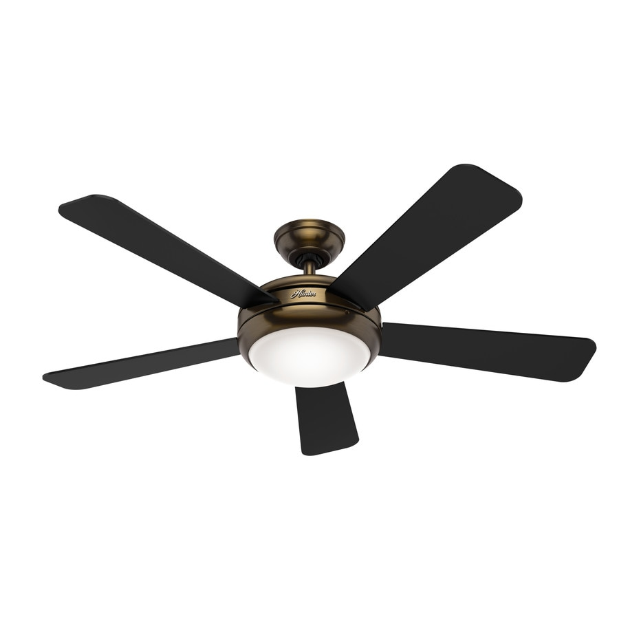 Hunter Ceiling Fans With Lights : Shop hunter palermo in brushed bronze indoor downrod or