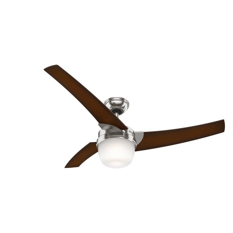 Hunter Eurus 54-in Brushed Nickel Indoor Downrod Mount Ceiling Fan with Light Kit and Remote (3-Blade)