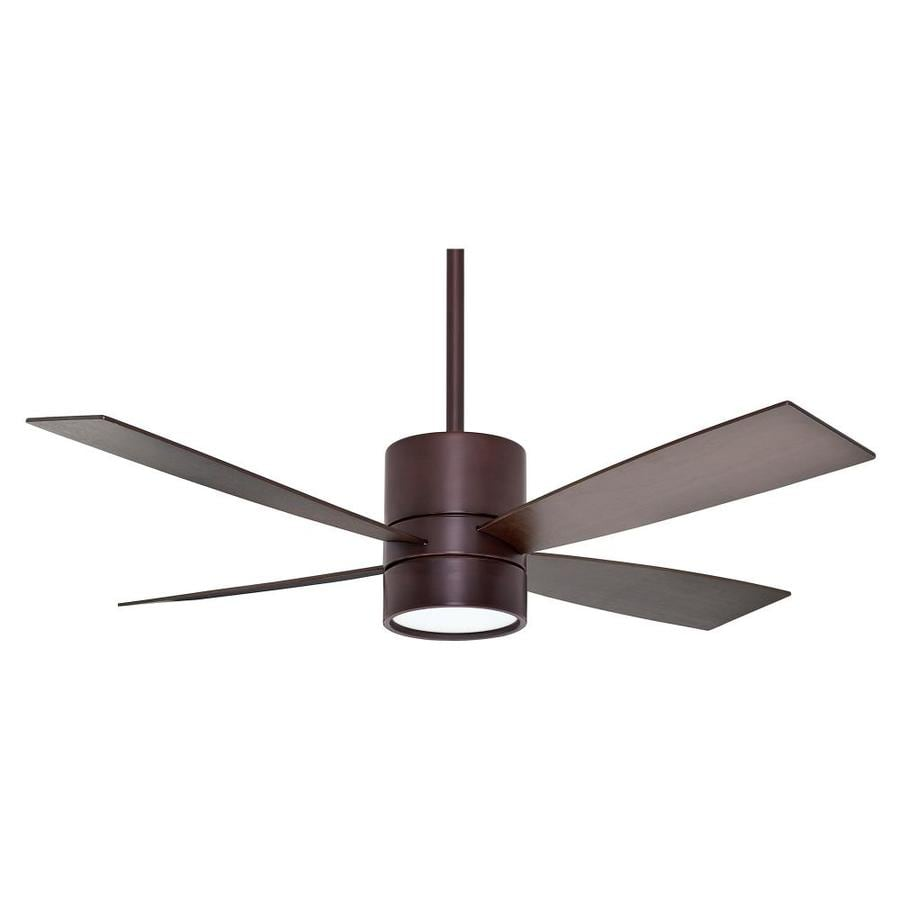 Casablanca Bullet 54-in Brushed Cocoa Downrod Mount Indoor Ceiling Fan with Light Kit and Remote (4-Blade)